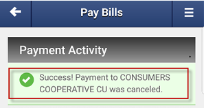 Screen capture showing confirmation message that a payment was canceled