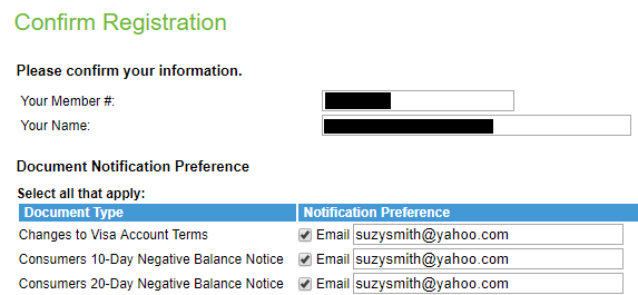 Screen capture showing registration information